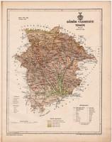 Gömör vármegye térkép 1899, Magyarország atlasz (a), Gönczy Pál, 24 x 30 cm, megye, Posner Károly