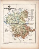 Komárom vármegye térkép 1899, Magyarország atlasz (a), Gönczy Pál, 24 x 30 cm, megye, Posner Károly
