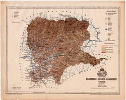 Beszterce - Naszód vármegye térkép 1899, Magyarország atlasz (a), Gönczy Pál, 24 x 30 cm, megye