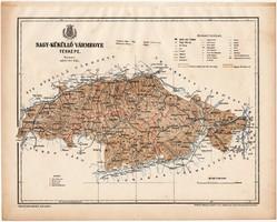 Nagy - Küküllő vármegye térkép 1899, Magyarország atlasz (a), Gönczy Pál, 24 x 30 cm, megye, Posner