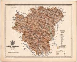 Sáros vármegye térkép 1899, Magyarország atlasz (a), Gönczy Pál, 24 x 30 cm, megye, Posner Károly