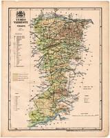 Temes vármegye térkép 1899, Magyarország atlasz (a), Gönczy Pál, 24 x 30 cm, megye, Posner Károly