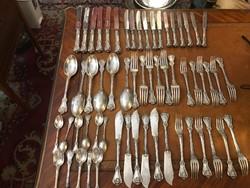 Ezüst 6 személyes barokk stílusú evőeszköz készlet