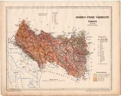Modrus - Fiume vármegye térkép 1899, Magyarország atlasz (a), Gönczy Pál, 24 x 30 cm, megye, Posner