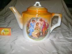 Régi Zsolnay, antik jelenetes teás kanna, kiöntő