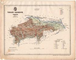 Varasd vármegye térkép 1899, Magyarország atlasz (a), Gönczy Pál, 24 x 30 cm, megye, Posner Károly