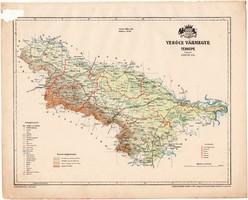 Verőce vármegye térkép 1899, Magyarország atlasz (a), Gönczy Pál, 24 x 30 cm, megye, Posner Károly