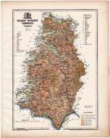 Krassó - Szörény vármegye térkép 1899, Magyarország atlasz (a), Gönczy Pál, 24 x 30 cm, megye