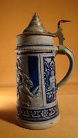 Antik söröskorsó ón fedéllel - 1L