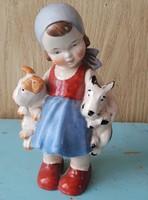 Sitzendorf kislány kutyusokkal