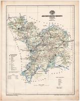 Jász - Nagykun - Szolnok vármegye térkép 1899, Magyarország atlasz (a), Gönczy Pál, 24x30 cm, megye