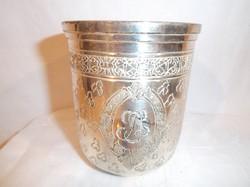 Fém pohár -  ezüstözött,vastagon - nehéz 3 dl - NSZK - két oldalt monogramm - teljes gravírozás -