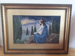 Jézust ábrázoló régi goblein