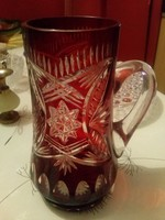 Hibátlan metszett Ajkai kristály füles pohár, karaffa, 18 cm magas