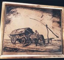 Meilinger Dezső antik  akvarell festmény 1929-ből