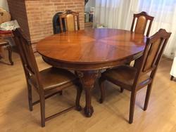 Felújított antik étkező asztal 4 székkel