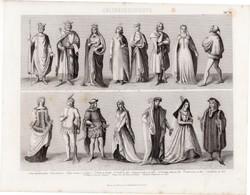 Kultúrtörténet - középkor (30), egyszín nyomat 1875, német, császár, király, 1340, 1400, Burgundia
