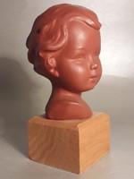Hummel Goebel terrakotta kerámia figura baba fej büszt fa talpon