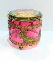 Francia empire rózsaszín csiszolt üveg doboz fém montírral