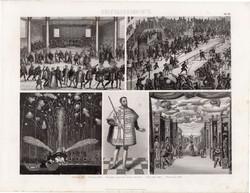 Kultúrtörténet - újkor (40), egyszín nyomat 1875, német, bál, lovagi torna, színház, magyar herold