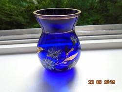 Kobaltkék,kézzel festett,aranyozott kis üveg váza