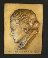 Beethoven bronz plakett - Seregély Dezső - RRRR