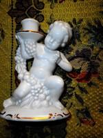 Régi német puttos  porcelán gyertyatartó