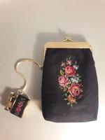 Plusz ajándékkal ! Különleges vintage gobelin pénztárca hozzátartozó öngyújtóval jelzett Golden seal