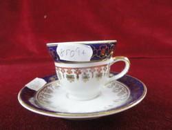 Török porcelán kávés csésze, kék szegéllyel, arany mintával