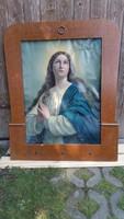 Antik Szentkép Szűz Mária, Topolyakeretben eladó!