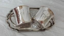 Ezüstözött barikás poharak tálcával