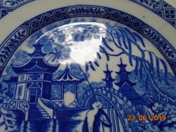 """2 db kobaltkékkel festett, jelzett tányér """"japán kertek pagodával"""" minta"""