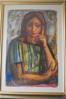 Józsa János festőművész  Női fej csíkos ruhában