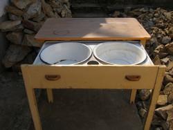 Régi mosogató konyha asztal lavórtartóval retro, antik, népi, paraszti