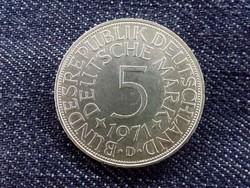 Németország Szövetségi Köztársaság (1949-1990) ezüst (.625) 5 Márka 1971 D/id 9370/