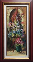 """Adilov Alim """"Színes csokrok"""" című olajfestmény szép keretben ingyenes házhoz szállítással"""