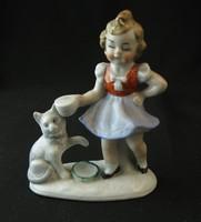 Kislány cicával - jelzés nélküli porcelán