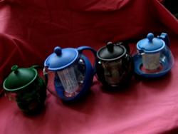 Színes teás jénai kancsók szűrővel