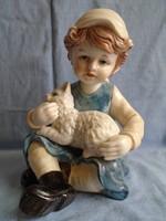 Nápolyi  porcelán; Kislány cicájával, szép, élethű alkotás