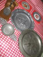 6 db ón dísztárgy tányér óra kanál