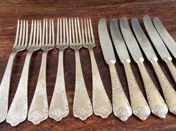 Antik ezüstözött étkészlet