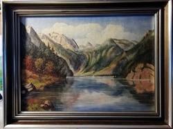 Ajánlatra várva, csodálatos jelzett tájkép, eredeti keretében ( teljes méret 60 x 80, olaj )