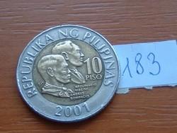 FÜLÖP-SZIGETEK 10 PISO 2001 BIMETÁL 183.