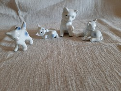4 db mini porcelán cica, macska