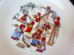 Mesejelenetes macis tányér, építkező mackók