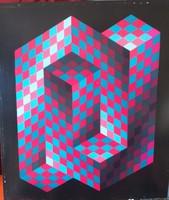 Vasarely: Geometrikus kompozíció (nagyméretű!) heliogravűr