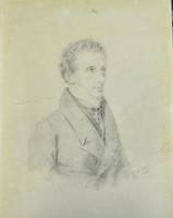, L.A. Fallon  portréja, Joseph Kriehuber után, Antik ceruzarajz, 1830,