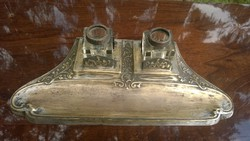 Antik szecessziós réz kalamáris-írószertartó 2 üvegbetéttel