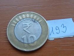 INDIA 10 RÚPIA 2011 BIMETÁL MUMBAI 193.