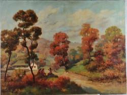 Ismeretlen festő: Erdős tájkép parasztházzal